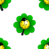 Seamless pattern with yellow ladybug. On the green leave Stock Images