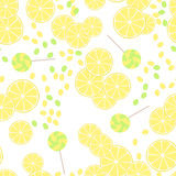 Seamless pattern of yellow lemon slices and candy lollipops Stock Photos