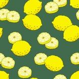 Seamless pattern with yellow lemons Stock Photo