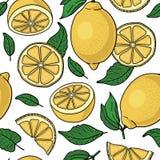 Seamless pattern with yellow lemons -  illustration Stock Image