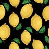 Seamless pattern with yellow lemons -  illustration Stock Photo