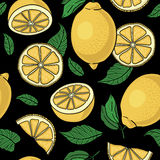Seamless pattern with yellow lemons -  illustration Royalty Free Stock Photos