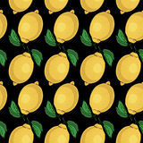 Seamless pattern with yellow lemons -  illustration Royalty Free Stock Photography