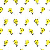 Seamless pattern with yellow light bulb on white background. stock illustration