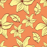 Seamless pattern with yellow lilies Stock Photo