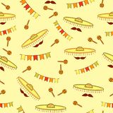 Seamless pattern with sombreros, mustaches, maracas and paper flags royalty free illustration