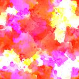 Seamless pattern of yellow, orange, red watercolor blots. For background stock images