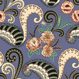 Seamless pattern with yellow orange roses, ornamental paisley Stock Image