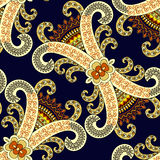 Seamless pattern with yellow ornamental swirls, colorful decor o Stock Photo