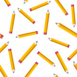 Seamless pattern with yellow pencils on white background. Back to school texture with comic pencils. Vector Illustration. Stock Image
