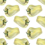 Seamless pattern with yellow peppers drawn by hand with colored pencil. Healthy vegan food. Fresh tasty vegetables painted from nature Royalty Free Stock Image