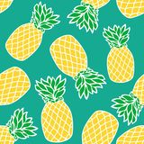 Seamless pattern with yellow  pineapples. stock illustration