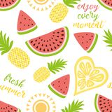 Seamless pattern with pineapples watermelon Bright summer fruits illustration. Fruit mix design for fabric and decor. Seamless pattern with yellow pineapples royalty free illustration