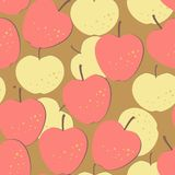 Seamless pattern with yellow and red apples Stock Photo