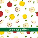 Seamless pattern of yellow and red apples and leaves on a white background. Vector illustration, a flat style vector illustration