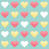 Seamless pattern with yellow red and white hearts over mint Royalty Free Stock Photography