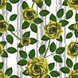 Seamless pattern with yellow roses. Beautiful realistic flowers with leaves and distorted stripes. Photorealixtic rose bud, clean stock illustration