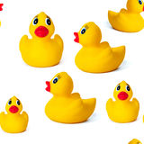 Seamless pattern yellow rubber duck. Baby toy white background Royalty Free Stock Photos