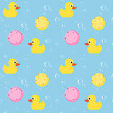 Seamless pattern with yellow rubber duck,soap bubble and sponge Stock Photography