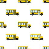 Yellow School Bus Icon Seamless Pattern Royalty Free Stock Photo