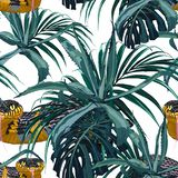 Seamless pattern with yellow snakes and blue tropical plants: agave, palm and monstera leaves. Colorful wallpaper on a tropical theme on white background stock illustration