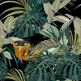 Seamless pattern with yellow snakes and blue tropical plants: monstera, ficus, palm leaves. Colorful wallpaper on a tropical theme on black background stock illustration