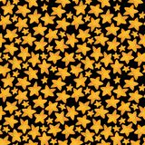 Seamless pattern of yellow star like cookies. Watercolor illustration royalty free stock photos