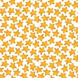 Seamless pattern of yellow star. Watercolor illustration stock photo