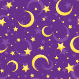 Seamless pattern with yellow stars and crescents on purple. Vector illustration. Vector seamless pattern with yellow stars and crescents on a purple background Stock Photos