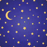 Seamless  pattern with yellow stars, moon and night sky Stock Photos