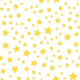 Seamless pattern with yellow stars on white background. vector.  Royalty Free Stock Photo
