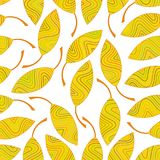 Seamless pattern of yellow striped leaves Stock Image