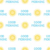 Seamless pattern from the yellow sun and blue phrase Good mornin. G. Colorful background. Vector illustration Stock Photography