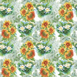 Seamless pattern with yellow sunflowers painted in watercolor on a white background. Stock Image