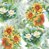 Seamless pattern with yellow sunflowers painted in watercolor on a white background. Stock Photos