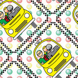 Seamless pattern with yellow taxi Royalty Free Stock Photography