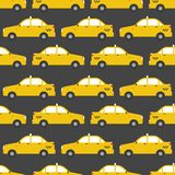 Seamless pattern of yellow taxi car. Stock Image