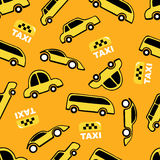 Seamless pattern of yellow taxi cars Stock Photo