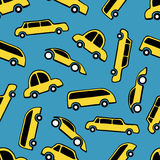 Seamless pattern of yellow taxi cars Royalty Free Stock Images