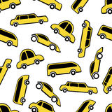 Seamless pattern of yellow taxi cars Royalty Free Stock Photos