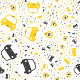Seamless pattern with Yellow taxi icons with a geolocation icon on a white background. Flat  illustration EPS 10 Stock Image