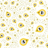 Seamless pattern with Yellow taxi icons with a geolocation icon on a white background. Flat  illustration EPS 10 Stock Photo