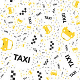 Seamless pattern with Yellow taxi icons with a geolocation icon on a white background. Flat  illustration EPS 10 Royalty Free Stock Images