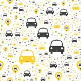 Seamless pattern with Yellow taxi icons with a geolocation icon on a white background. Flat  illustration EPS 10 Royalty Free Stock Image