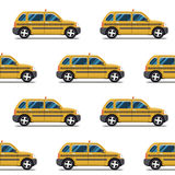 Seamless pattern of yellow taxis Royalty Free Stock Photo