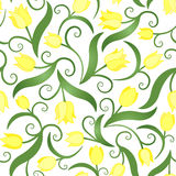 Seamless pattern with yellow tulips. Endless flowers. Can be used in textile design, postcards, websites, wallpapers, packages, wrapping paper, etc. Vector Stock Photos