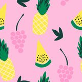 Seamless pattern of yellow watermelon and grapes on a pink background. vector illustration