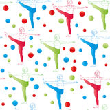 Seamless pattern. Yoga poses as seamless background.  EPS,JPG. Seamless pattern. Yoga poses as seamless background. Background with women in red, blue, green Stock Images