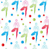 Seamless pattern. Yoga poses as seamless background.  EPS,JPG. Seamless pattern. Yoga poses as seamless background. Background with women in red, blue, green Royalty Free Stock Images