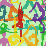 Seamless pattern of yoga poses Royalty Free Stock Photography